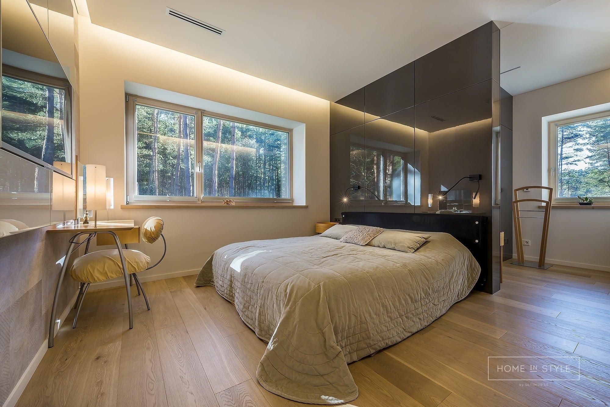Interjero projektu igyvendinimas miegamojo baldai