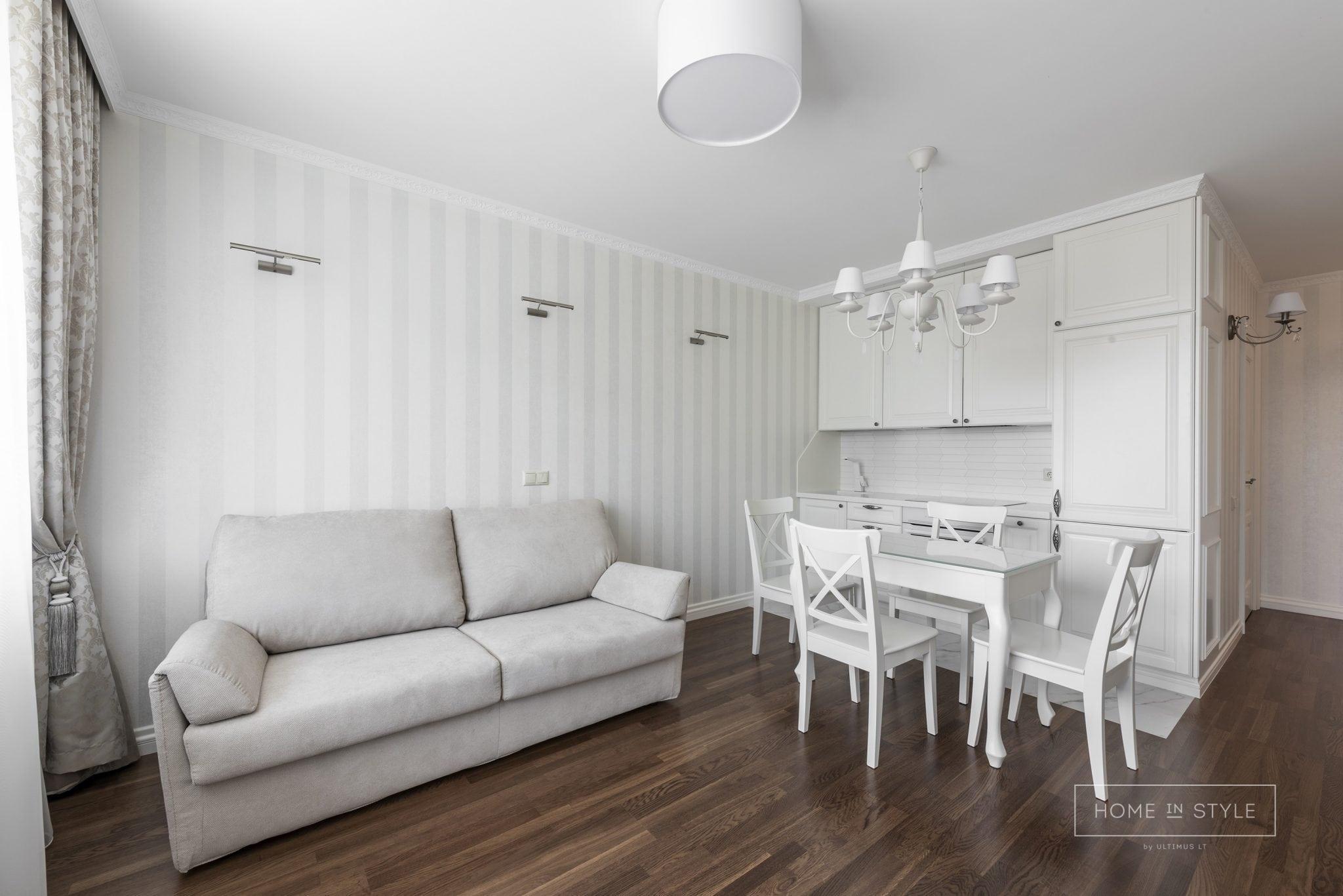 Klasikinis interjeras virtuves ir svetaines baldu gamyba projektas